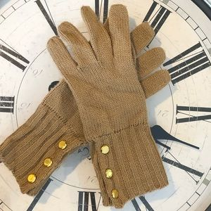 Michael Kors camel and gold knit gloves